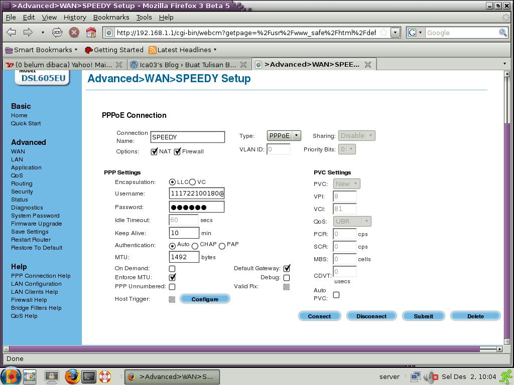 Setelah itu set LAN Configurationnya, klik configure aturlah